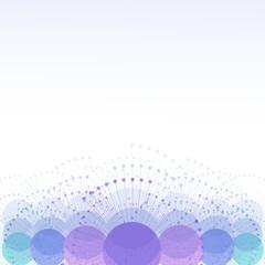 Абстрактный фон в холодных тонах из пересекающихся кругов с лучами, с пространством для текста. Технологии, коммуникации.