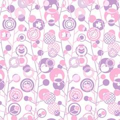 Бесшовный фон с абстрактным геометрическим рисунком в розово- сиреневых тонах из кругов и колец разного размера с различными узорами и пересекающихся линий.