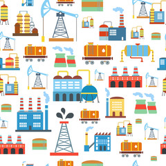 Industrial seamless pattern with oil and petrol icons. Extraction  refinery facilities