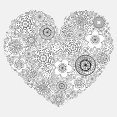 Heart shape pattern for coloring book.  Floral imitation of retro doodle hand drawing. Black and white background of  zentangle. Coloring book page for adult.