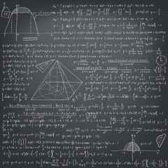 Mathematical formulas on a black school board