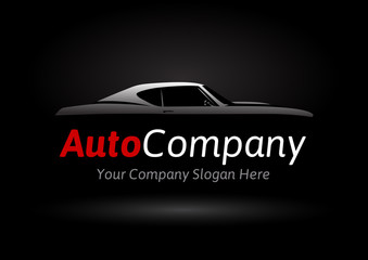 Auto Company Vehicle Logo Design Concept with classic American style sports Car Silhouette on black background. Vector illustration.