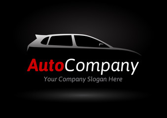 Modern auto company Vehicle logo design concept with sports hatchback car silhouette on black background. Vector illustration.