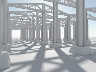 Factory background with concrete floor. The structure of concrete blocks