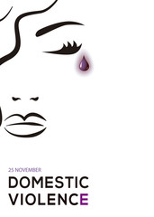Domestic violence. Woman crying with purple tear.