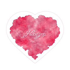 Template of greeting card for Valentine's day. Abstract heart with handwritten inscription. I love you. Watercolor imitation. Vector, EPS 10