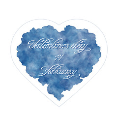 Template of greeting card for Valentine's day. Abstract heart with handwritten inscription. 14 February. Watercolor imitation. Vector, EPS 10