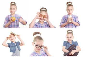 Little girl playing around with various objects.