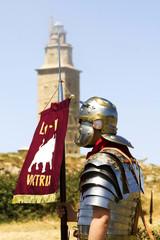 Tower of  hercules world heritage wiht warriors soldiers romans