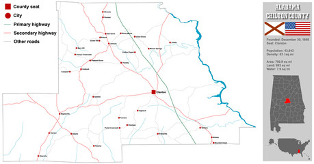 Large and detailed map and infos about Chilton County in Alabama.