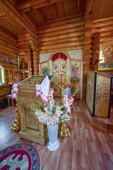 Orthodox Church/The interior of the Orthodox wooden Church. Russia, far East, Primorsky Krai