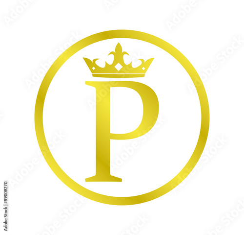 Alphabet Golden Circle Letter P With Crown Stock Image And Royalty