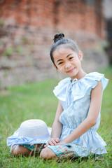 cute asian girl on Thai dress