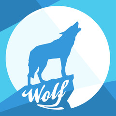 Full Moon with Howling Wolf Silhouette on Flat Abstract Blue Vector Design