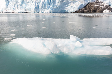 Aialik Glacier in the Kenai Peninsula Borough of Alaska, Calving ice at glacier