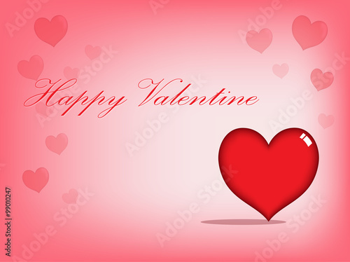 vector design of big red heart with valentine card background
