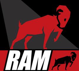 Conceptual Design of a Ram or a Goat Symbol. Vector illustration.