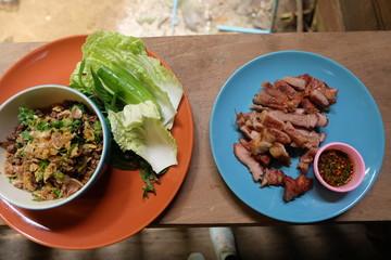 ground pork salad and vegetable