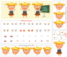 Schoolgirl. Parts of body template for design work and animation