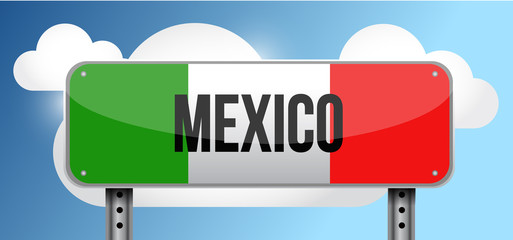 Mexico road street sign illustration