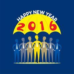 new year 2016 party umbrella theme , people under umbrella design vector