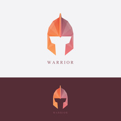 Ancient warrior helmet logo design in low polygon style for corporate business visual identity