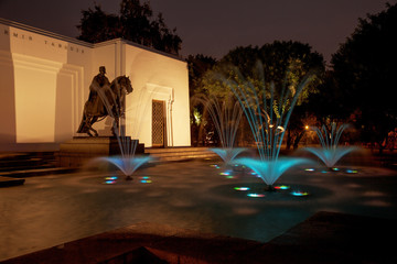 Beautiful fountain at night in Park of the Reserve, Lima, Peru