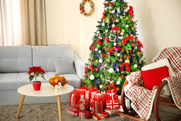 Christmas interior with fir tree, clock and gifts