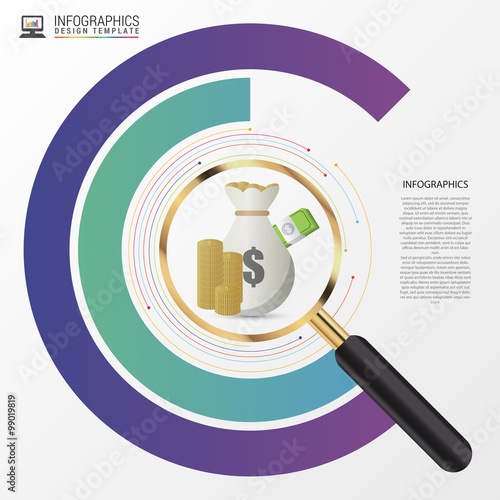 Investment Analysis Graphic Design Concept With Magnifying Glass