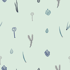 Trendy vector seamless pattern with forest plants, leaves, seeds and cones.