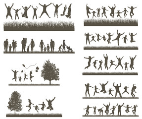 Happy Family . Conceptual background. Set of Men's, Women's and Children Silhouettes. Active People on the Party and Nature.