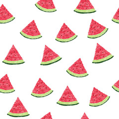 Seamless pattern with slices of watermelon. Doodle vector background.