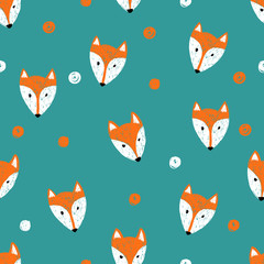 Fox seamless pattern. Doodle background.
