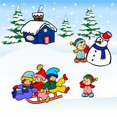 winter christmas  landscape, Children sled sliding on the snow and making snowmen