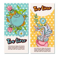 Tea time design banner templates set