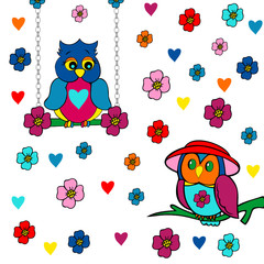 valentine's day card,cute owls in love on flowery ground, owls in love on a swing in flowering ground