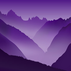 Lifeless landscape with huge mountains. Vector panorama in violet tones.