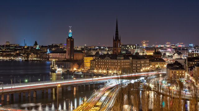 Stockholm at Night. Beautiful nightscape of Stockholm city center, the Venice of the North.  From left to right, Kungsholmen, Stockholm City Hall, Riddarholmen and Gamla Stan are pictured here.