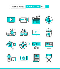 Film, video, shooting, editing and more. Plain and line icons set