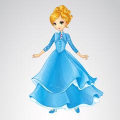 Blonde Princess In Blue Fashion Dress