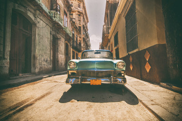Vintage car parked in Havana street