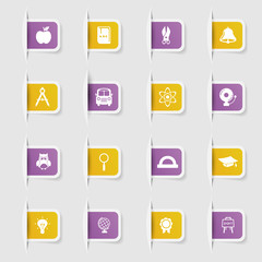 Set, a collection of unique paper stickers icon education