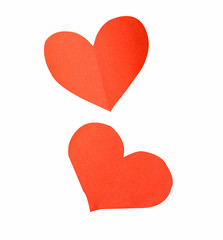 red paper hearts on a white background (clipping path)