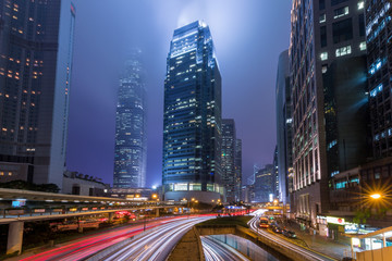 Fotomurales - Mist Hong Kong Central District at Night with Light Track
