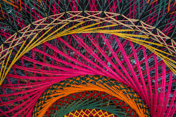 Texture of colorful threads on northern Thai umbrella for abstar