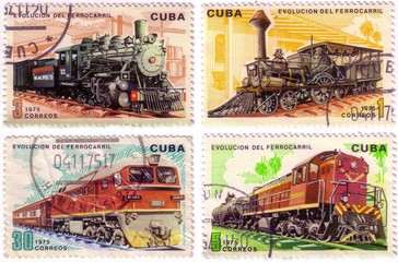 CUBA - CIRCA 1975 : A post stamp printed in Cuba shows moving tr