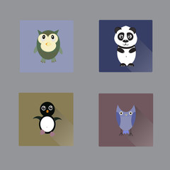 Vector flat animal icons. Includes owls, panda, penquin.