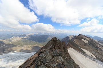 Mountain glacier panorama in Hohe Tauern Alps, Austria