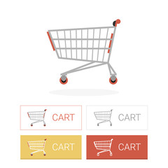 Cart flat icon illustration with buttons set