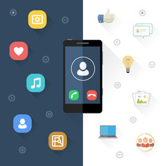 Set of the different icons and smart phone with long shadow